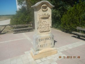 Border stone telling us that we are entering the Province of Palencia