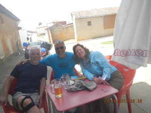 Kyung, myself and Heather relaxing after our battle with La Calzada Romana