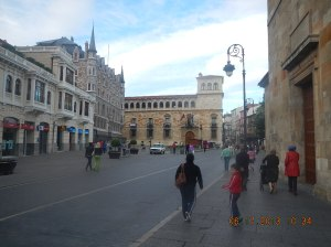 Gaudi's famous Casa de Botines (far left with spires) and the Palacio de los Guzmanes (center)