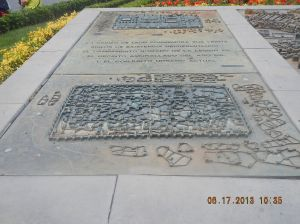 Plaque honoring the original Roman Military Camp (1st Century AD) on this site and the Roman walled city.