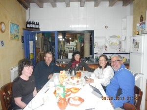 Breakfast at the Albergue San Miguel with (from left to right) a French couple, my Brazilian hospitalera, Marta and yours truly.