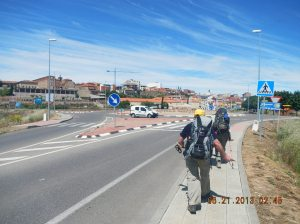 Dena and Ian leading us in to Astorga. The Roman name for the town, Asturica Augusta, is in the middle of the traffic circle