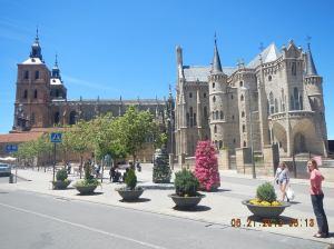 Antonio Gaudí's Gothic masterpiece El Palacio Episcopal (The Bishop's Palace) with the Catedral de Santa Maria in the background.