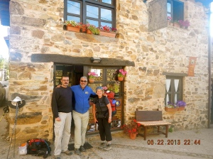 Manuel, the owner of the wonderful Casa Rural A Cruz De Ferro with myself and Sue