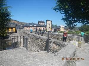 Crossing the bridge at Molinaseca