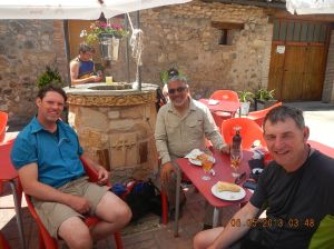 Otto, from Austria, myself and Robert having a relaxing lunch in Redecilla del Camino