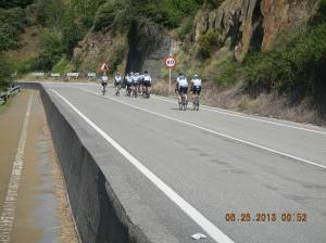 A cycling team out for a training ride.