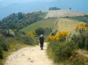 One of my favorite pictures of Sue climbing up to Laguna de Castilla, the last hamlet before you entered Galicia