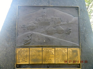 A plaque showing the village as it must have been
