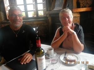Notice the Wine and Torta de Santiago! No wonder we have large smiles!!