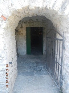 Narrow entrance to the church