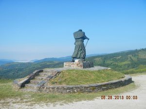 Monumento do Peregrino near the Alto San Roque (1,270 meters)